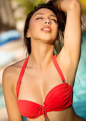 Mouthwatering brunette Alexis Love strips off by the pool